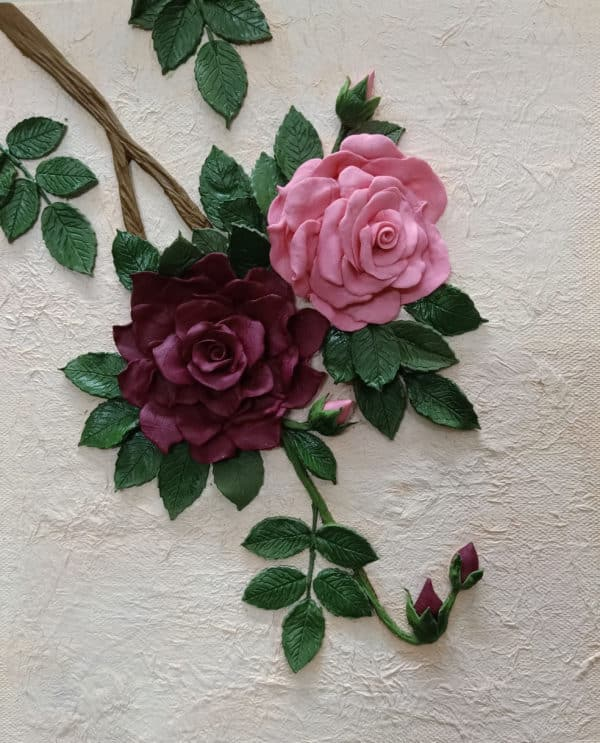 3D Matte Rose Bunch on Textured Background