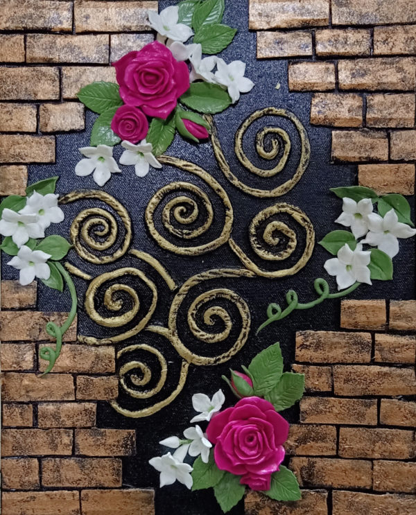 Handmade 3D Brick Wall with Roses and Jasmine on a Canvas