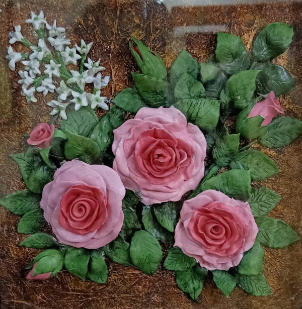 Handmade 3D Roses on a Canvas