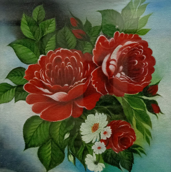 Painting of Peonies on Canvas