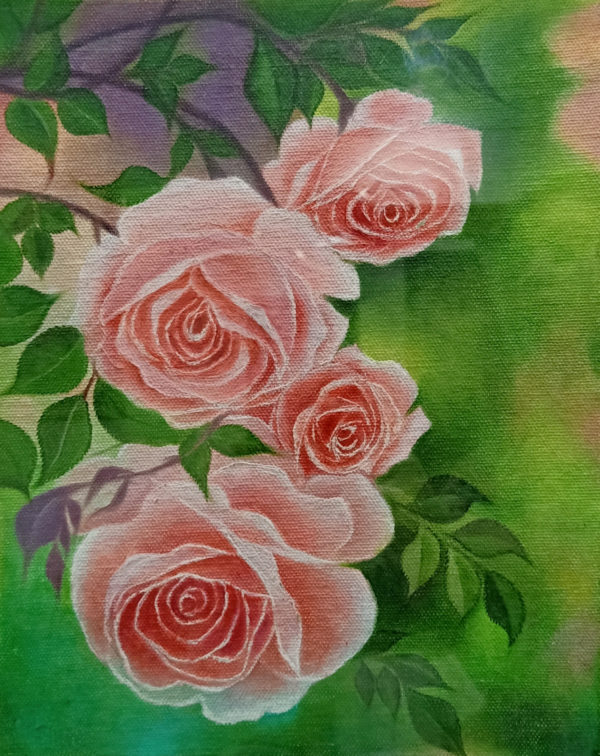 Painting of Roses on a Canvas