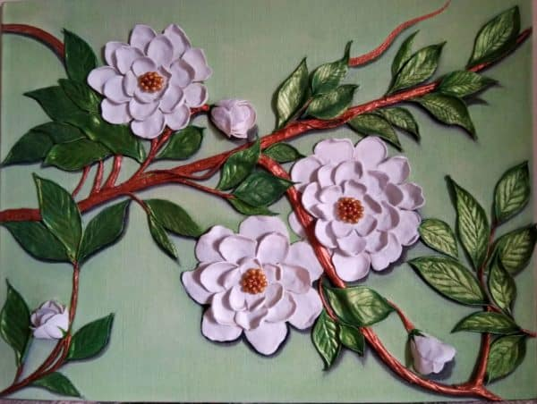 Handmade 3D Artwork of Pink Flowers on a Canvas
