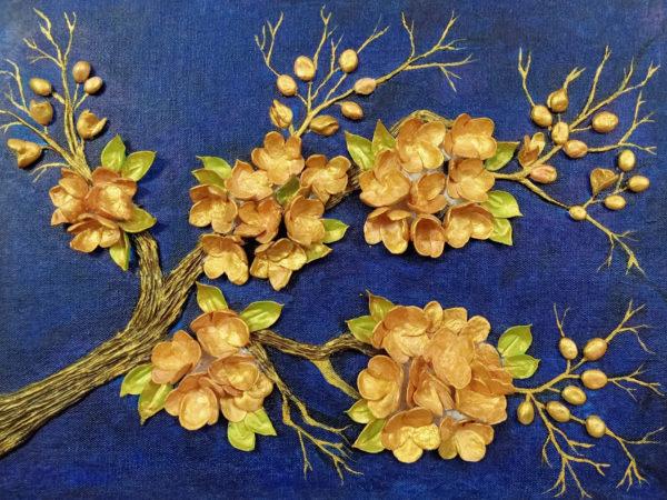 Handmade 3D Golden Blossoms on Canvas