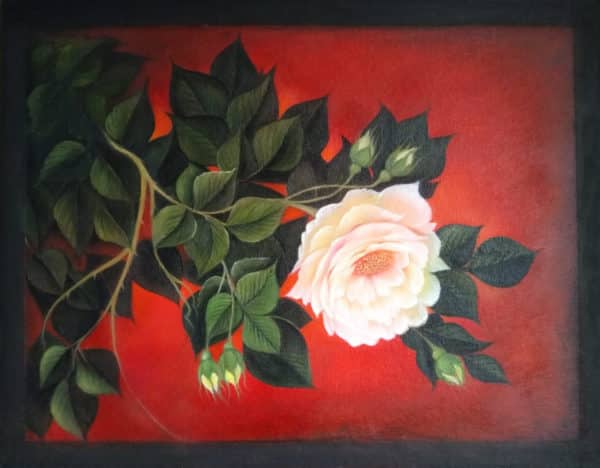 Painting of Peonies on Canvas with Red Background