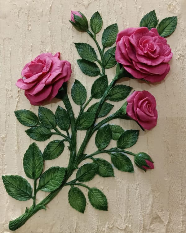 3D Pink Roses on a Canvas with a Textured Background