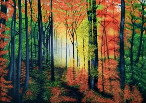 Scenic Painting of a Forest